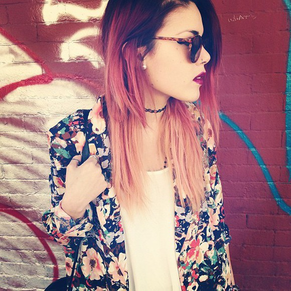 jewels floral top sunglasses jacket