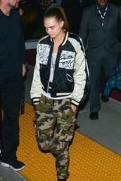 jacket,bomber jacket,cara delevingne,pants