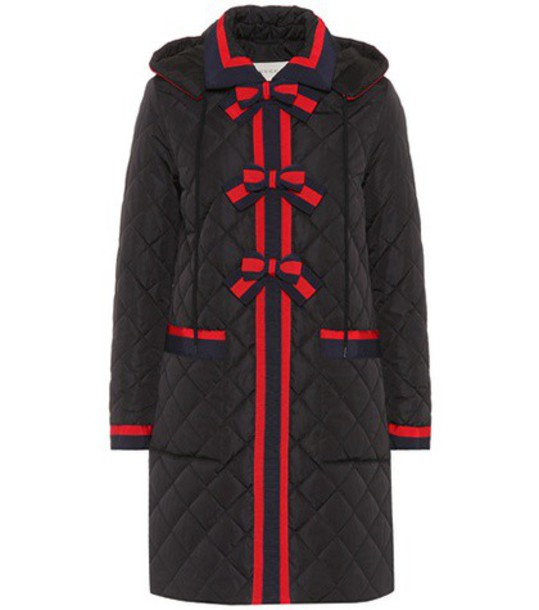 gucci coat bows quilted black