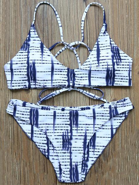 swimwear bikini blue summer beach white trendy zaful