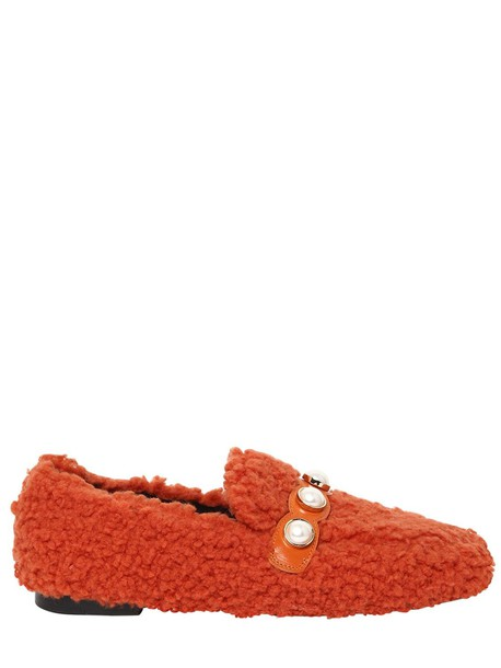 SUECOMMA BONNIE 10mm Furry Faux Shearling Loafers in coral