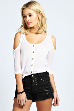 Rhian Studded Distressed Denim Shorts at boohoo.com