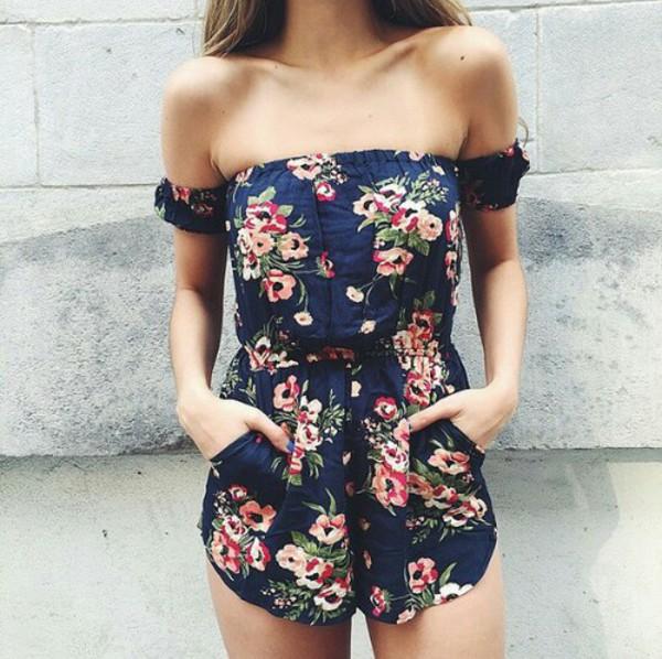 jumpsuit, flowers, summer, shorts, fashion, romper, floral ...