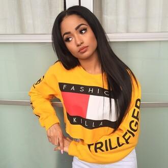 shirt crop tops fashion killa trillfiger sweatshirt