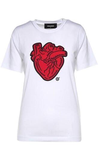 t-shirt shirt heart cotton print top