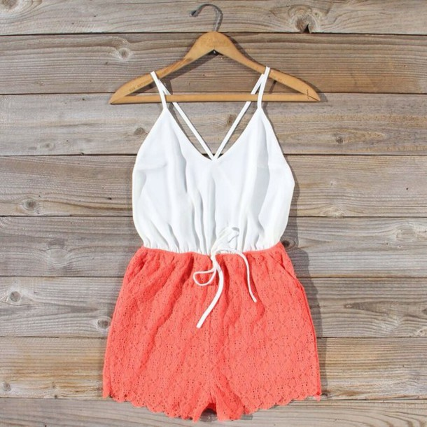 shorts romper lace coral white