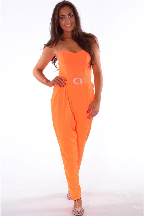 Ladies Eneco Bandeau Style Jumpsuit In Neon Orange at Pop Couture UK