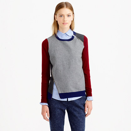 Merino wool asymmetrical zip sweater in colorblock