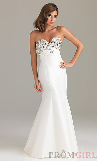 Night Moves Strapless Prom Dress, Sexy Pageant Gowns - PromGirl