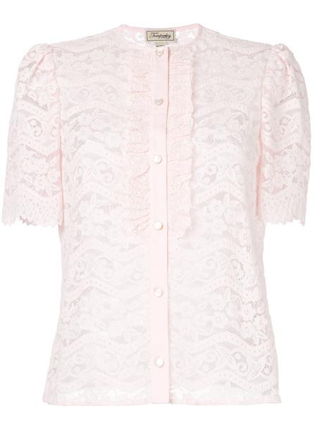 Temperley London blouse women lace cotton purple pink top