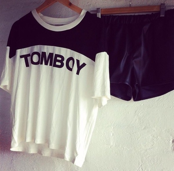 shirt black white tomboy