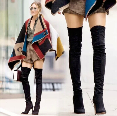 Over the Knee Boots Black Women Suede Leather Strech Long Boots ...