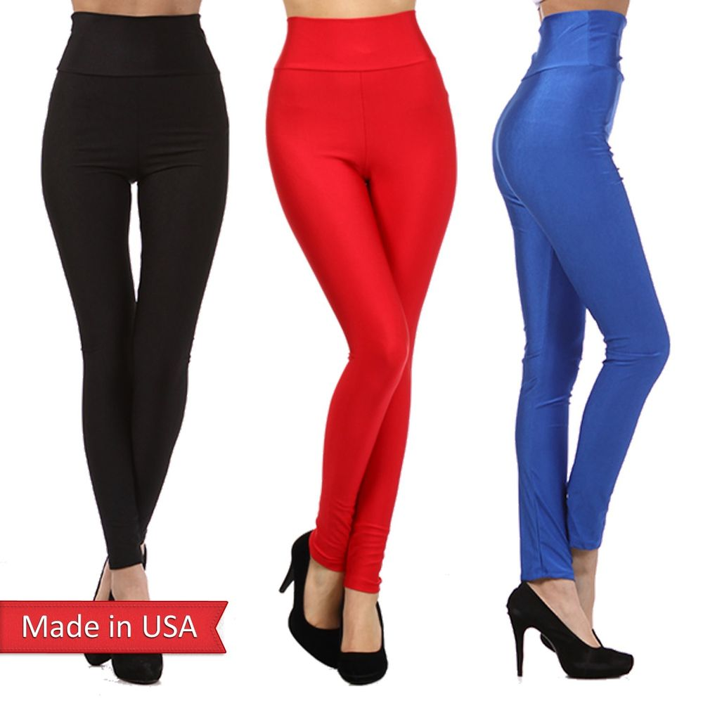 Women Basic Shiny Nylon Color Black Red Blue High Waist Leggings Tights Pants US