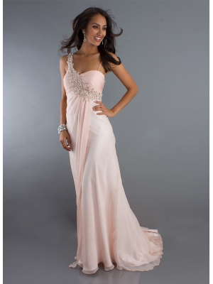 Buy Feminine Pink One-shoulder Chiffon Beaded Court Train Prom Dress under 200-SinoAnt.com