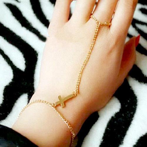 Cross Bracelet Bangle Slave Chain Link Finger Ring Hand Harness Gold Silver