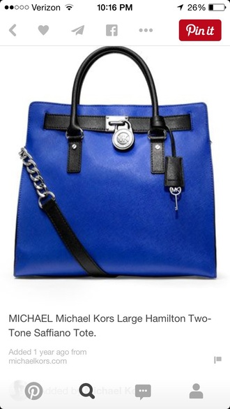 bag michael kors hamilton blue cobalt blue tote bag purse leather purse saffiano leather michael kors handbag