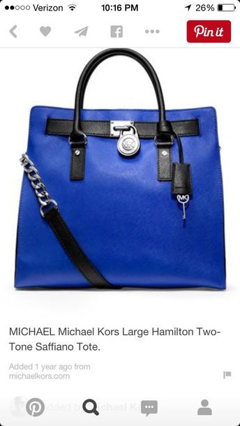 6cd30ebcd7b2 bag michael kors hamilton blue cobalt blue tote bag purse leather purse  saffiano leather michael kors
