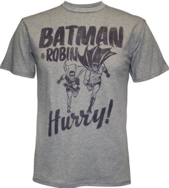 Amazon.com: Batman & Robin Hurry Men's T-Shirt by Junk Food, Small: Clothing