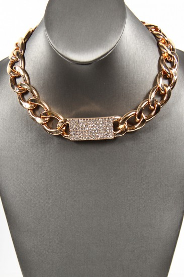 LoveMelrose.com From Harry & Molly | Rhine Stone Chain Necklaces - Gold