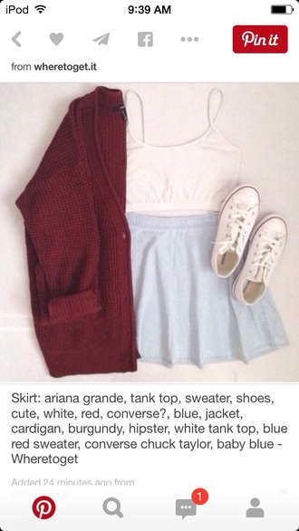 cardigan skirt shoes hair accessory