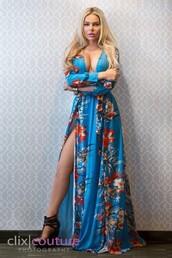 dress,haute rogue,long dress,maxi dress,slit,floral dress,blue dress,deep v,plunge v neck,deep v dress,deep v neckline,summer dress,sexy dress,hot dress,printed dress,thigh high slit,long sleeves,long sleeve dress,blue floral dress