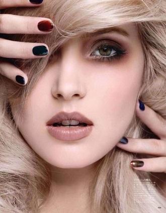 make-up green eyes blond hair lipstick eye makeup