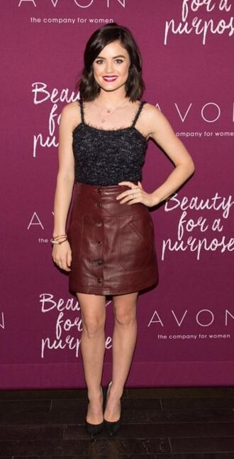 skirt top mini skirt lucy hale leather skirt leather