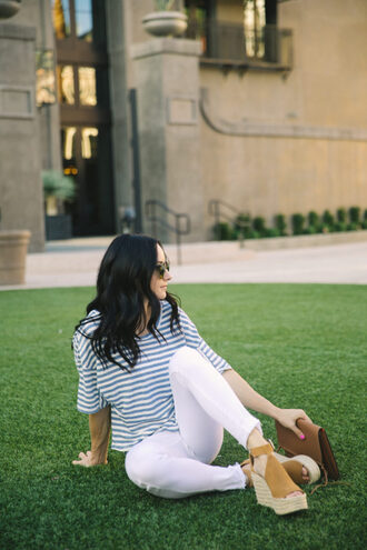 outfits&outings blogger t-shirt jeans shoes bag sunglasses white pants striped top wedges summer outfits
