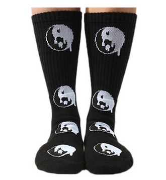 white black grunge socks yin yang