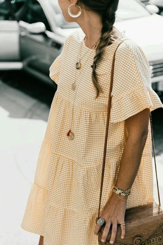 dress babydoll dress yellow gingham plaid