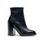 Black leather wide heel boots