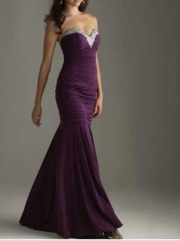 dress purple dress beautiful mermaid prom dress sweetheart neckline