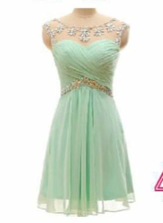 dress light green chiffon jewels