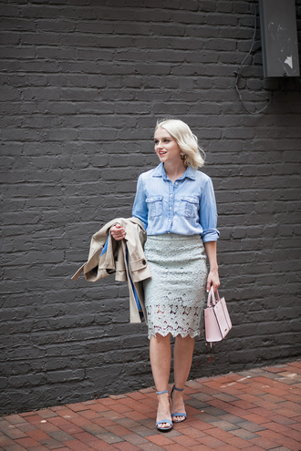 poor little it girl blogger coat jewels denim jacket denim top lace skirt maxi skirt pink bag nude coat turquoise sandal heels blue heels