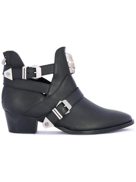PHILIPP PLEIN women boots ankle boots leather black shoes