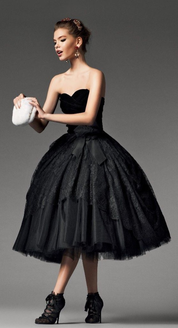 Dress black strapless prom wedding tea length dress for Black tea length wedding dress
