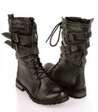 shoes combat boots grey boots women retro