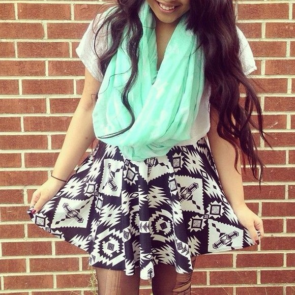skirt black skater skirt aztec sky blue neon scarf infinity scarf short sleeve shirt roll up sleeves top mint geometrical