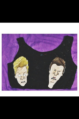 tank top beavis and butt-head crop tops black crop top