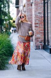 thehuntercollector,blogger,skirt,sweater,shoes,belt,bag,fall outfits,maxi skirt,multicolor,printed skirt,belted bag,grey sweater