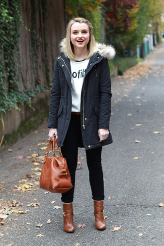poor little it girl blogger parka leather bag brown leather boots hairstyles