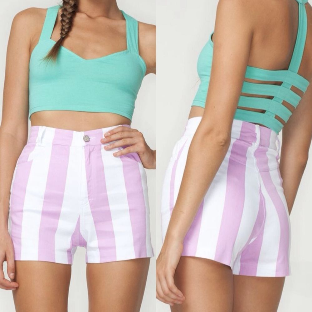 ROCKS PINK AND WHITE STRIPED HIGH WAIST SHORTS SIZE XS