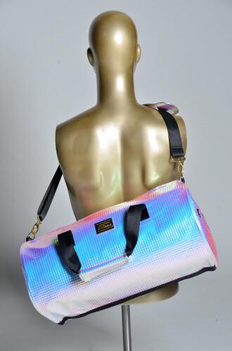 bag holographic unisex gym bag hologram bag metallic