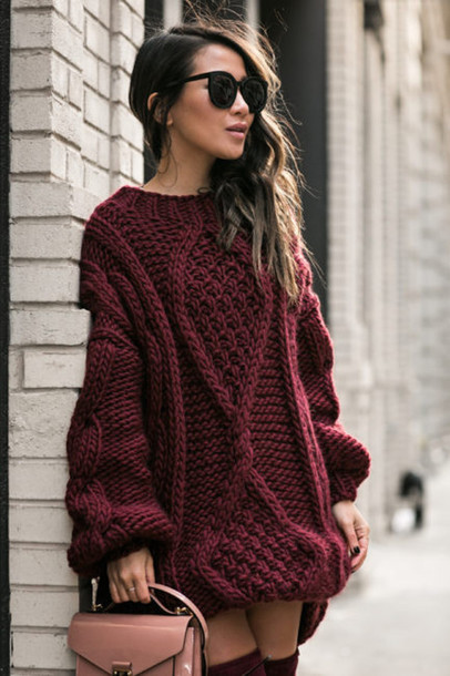 Sweater: tumblr, sweater dress, burgundy, burgundy dress, knitwear ...