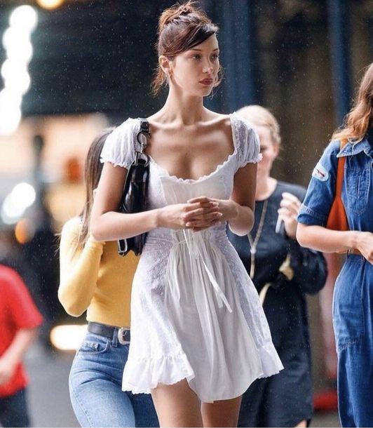 dress bella hadid white white dress fashion vibe fashion