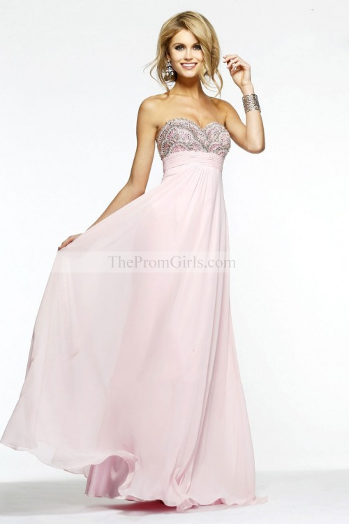 2014 New Style Sweet Pink A Line Floor Length Beaded&Ruffled Prom Dresses - 2014 Prom Collection - Shop Prom
