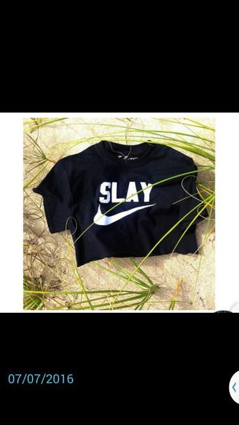 5ff8a472d8af20 shirt black crop top slay nike crop tops