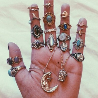 jewels ring moon hipster jewelry knuckle ring accessories style grunge wishlist indie boho grunge gypsy hippie mystic crystal necklace finger gold ring rings and tings rings silver beautiful emerald green boho jewelry jewelry boho chic stars stone ring gold midi rings fashion bohemian cool tibetan cute statement ring