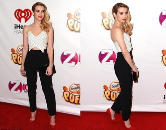 top crop tops emma roberts pants shoes pumps bag