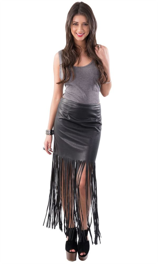 BLACK MID RISE FAUX LEATHER/PU FRINGE/TASSEL LONG/MAXI SKIRTS/DRESSES